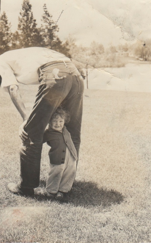 Dad Breon between legs Colorado 1950